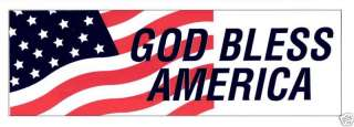 God Bless America Vinyl Bumper Sticker American Flag