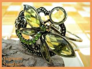 Color Swarovski Crystal Butterfly Metal Bangle Bracelet #20