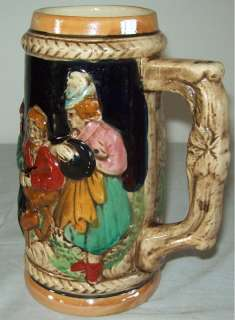 Vintage Ceramic Beer Stein Japan Castle & People Scene