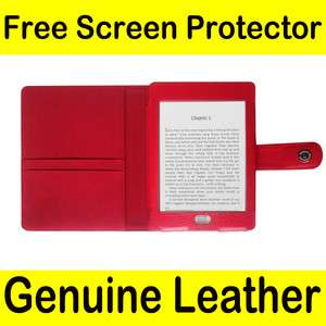 Genuine Leather Pouch Case Cover Jacket for  Kindle Touch Red 04