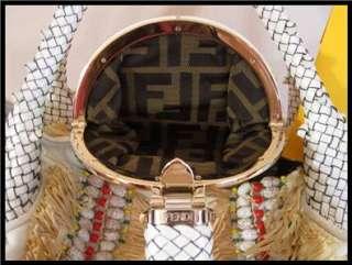 Authentic FENDI Ivory Cream White leather beaded Large Spy Bag Hobo