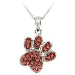 Rose Gold over Sterling Champagne Diamond Paw Necklace