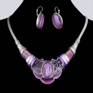 pink enamel herringbone chain necklace earring set 42N003