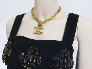 CHANEL Vintage CC Big Charm Gold Necklace Pendantat 80s at