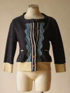 Anthropologie Knitted Dove blue plaid lace trimmed cardigan sweater S