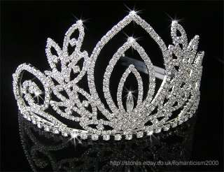 Wedding/Bridal crystal veil tiara crown CR057