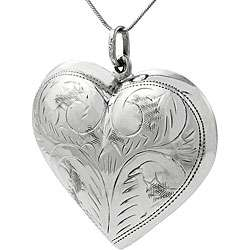 Sterling Silver Etched Puffed Heart Necklace