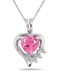 10k Gold Pink Topaz and Diamond Heart Necklace