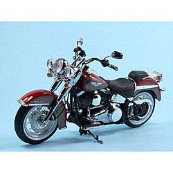 Harley Davidson Softail Deluxe Red Hot Sunglow Die Cast Motorcycle