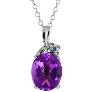 2.51 Ct Oval Purple Amethyst and Blue Diamond 18k White
