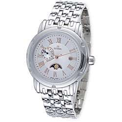 Gevril Mens Prime Minister Dual Time Zone Silver Dial Watch