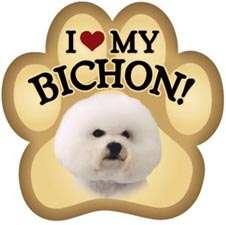 BICHON FRISE Car Magnet paw print