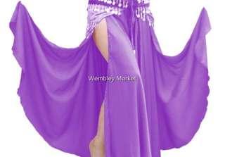 Black Satin Slit Full Circle Skirt Belly Dance 29 Color