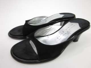 MICHEL PERRY Black Suede Slides Pumps Shoes Sz 36.5 6.5