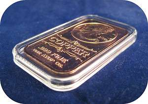 10) 1 Avoirdupois Oz .999 Copper Bullion Bar with Airtight and Cloth