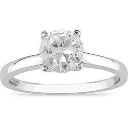 10k White Gold Created White Sapphire Solitaire Ring