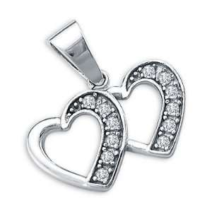 14k White Gold Double Two Heart Love Charm Pendant New Jewelry
