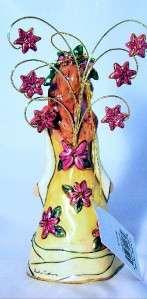 Poinsettias Angel Bell Ceramic Blue Sky Clayworks 2005 Rare