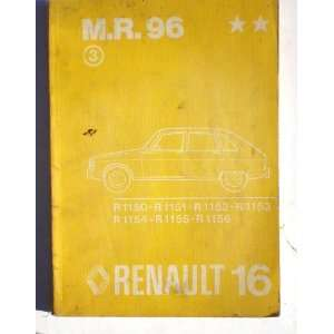 Renault 16 Workshop manual R1150 R1156 Regie Nationale Unises Renault