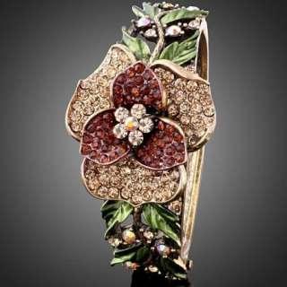 ARINNA Swarovski Crystal Flower Vintage Bangle Bracelet