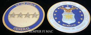 US AIR FORCE GENERAL 4 STAR CHALLENGE COIN PIN USAF