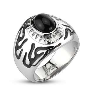 Steel Mens Black Design Black Onyx Orb Ring Size 9 14