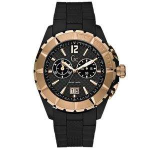 NEW GUESS COLLECTION GC GOLD CLASS XXL CHRONO MENS WATCH RUBBER STRAP