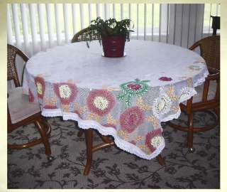CHRISTMAS HOLIDAY FLORAL NEEDLE LACE TABLECLOTH~EMBROIDERY?