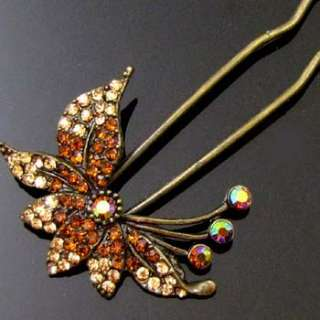 1pc rhinestone crystal Antiqued flower hair fork
