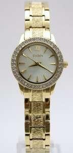 New Elgin Women Crystals Gold Bracelet Pearl Dial Watch Set 26 mm