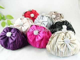 Cute Crinkled Crystal Bow Wedding Clutch Purse 8 Colors