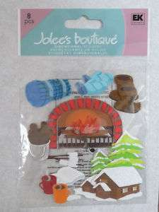 Winter35 JOLEES 3D Stickers LOG CABIN, HOT COCOA, FIRE