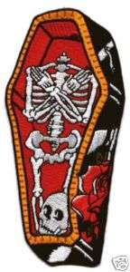 Coffin Patch Skull Military Biker Goth Punk Skeleton