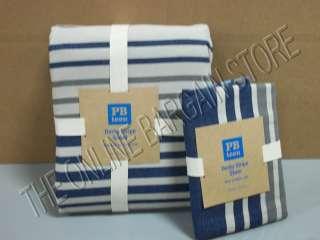 Pottery Barn Teen Derby Stripe Duvet Cover Twin Navy Blue Standard