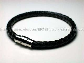 Mens Cow Leather Black 316L Stainless Steel Bracelet P