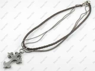 Tribal Leather Necklace Choker Mens Womens Cross Snap closure