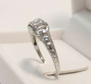 ART DECO 18K WHITE GOLD PIERCED DIAMOND ENGAGEMENT RING *