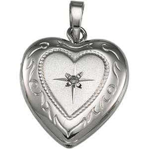 SILVER HEART SHAPE LOCKET WITH DIAMOND PENDANT NECKLACE