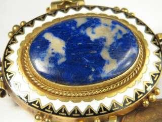LOVELY ANTIQUE ENGLISH 15K GOLD LAPIS LAZULI ENAMEL PIN BROOCH c1880