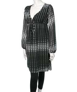 MoM Black and White Empire Sheer Sleeve Dress