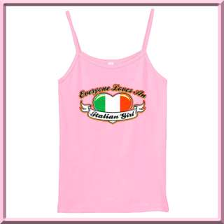 Everyone Loves An Italian Girl Heart Flag WOMENS RIBBED TANK TOPS S,M