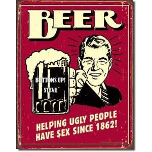 16 Retro BEER UGLY Collectible Tin Sign Home Bar BEER Alcohol MUG