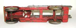 Early Hubley Cast Iron Fire Ladder Truck w/ Cast in Driver Nice NO