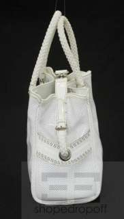 Fendi White Perforated Patent Leather Rope Handle Tote Bag