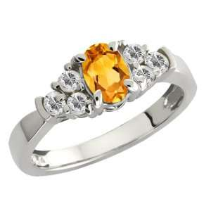 0.76 Ct Oval Yellow Citrine and White Topaz Sterling