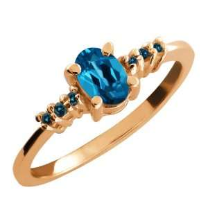 0.59 Ct Oval London Blue Topaz and Blue Diamond 18k Rose