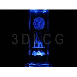 Fire Department 3D Laser Etched Crystal 6 Inch S 1