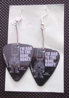 Guitar Pick Earrings   Bad to the Bone Bart Simpson