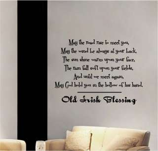 Old Irish Blessing Vinyl Wall Decor Sticker Decal Quotes