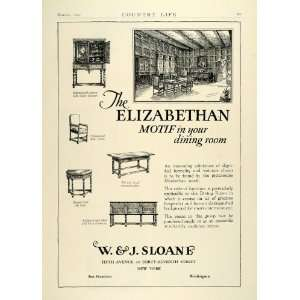 1927 Ad W. J. Sloane Elizabethan Dining Room Furniture